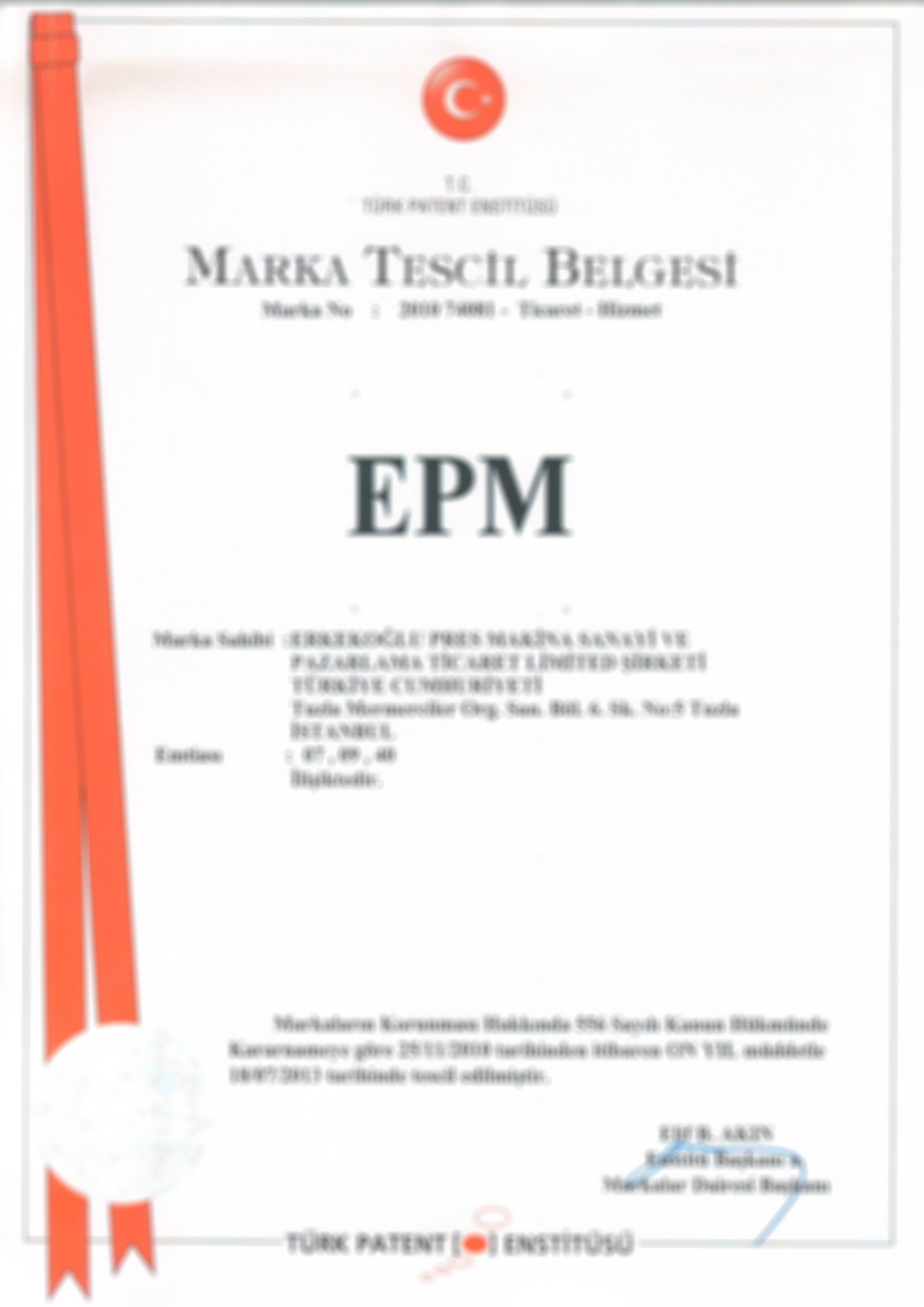 EPM marka tescil